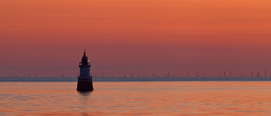 Plover Scar Lighthouse at Sunset